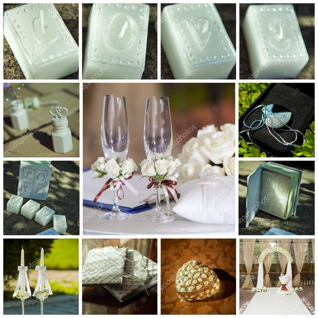 Collage Von Hochzeit Bilder Dekoration In Lichtfarbe Stockfoto