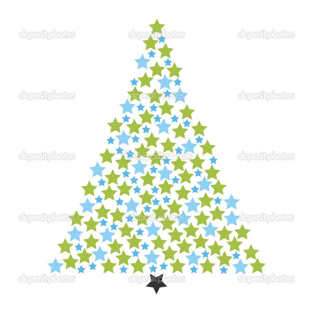 rbol de navidad hecho de muchas estrellas de luz u vector de stock