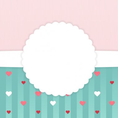 Pink and blue stripped card template with hearts