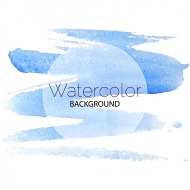 Blue watercolor background black text white circle