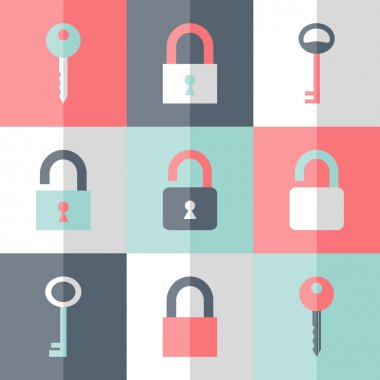 Flat padlock key icon set