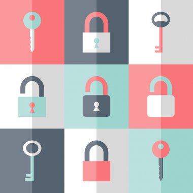Flat padlock key icon set