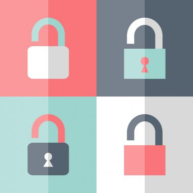 Flat open padlock icon set