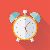 Photo White and yellow alarm clock flat icon