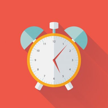 White and yellow alarm clock flat icon