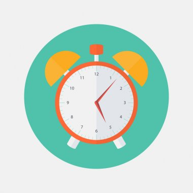 Red and yellow alarm clock flat icon