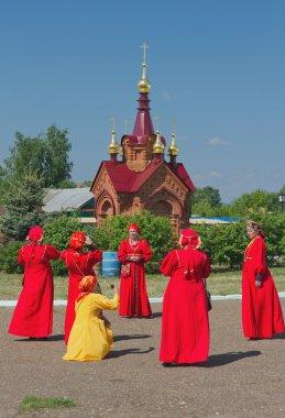 Folklore collective is photographed. Karavon-2014, Tatarstan