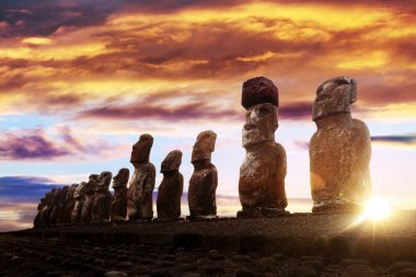 Standing moais in Easter Island at sunrise