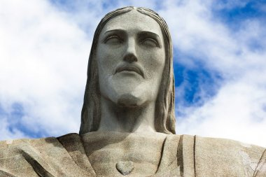 Face of the statue of Christ the redeemer in Rio de Janeiro