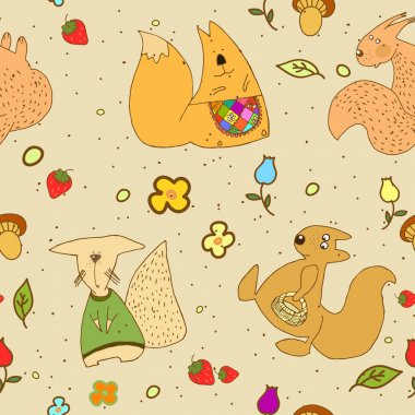 Seamless texture squirrels, children's drawings.