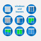 Fotografie ploché ikony pro windows a žaluzií