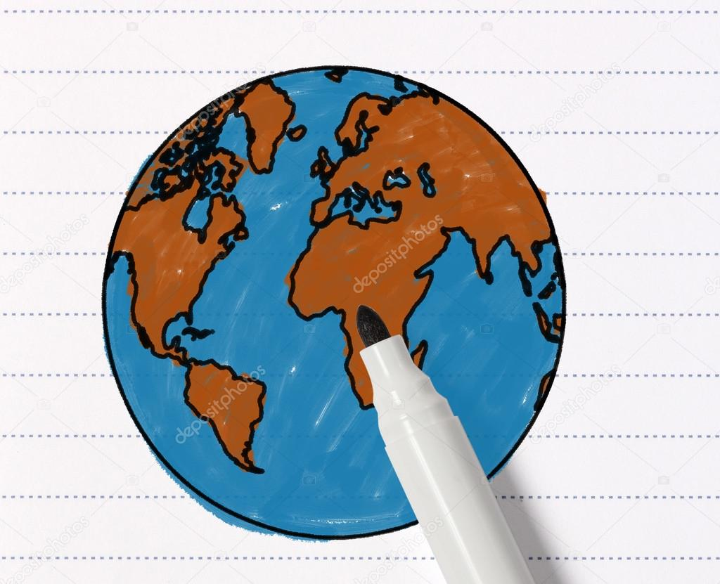Sketch of the world map with pencil stock photo