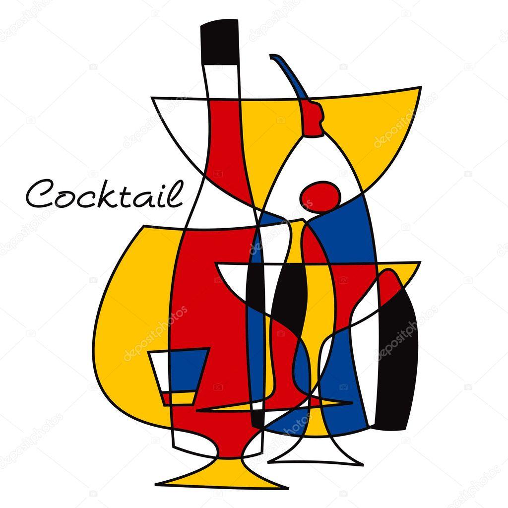 Cocktail retro set.