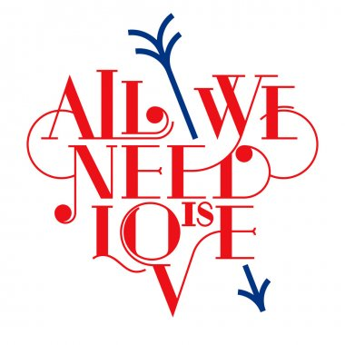 All we need is love. Heart typography, lettering. Love typography.