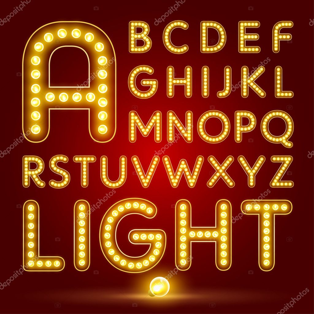 Alphabet font with realistic lamp