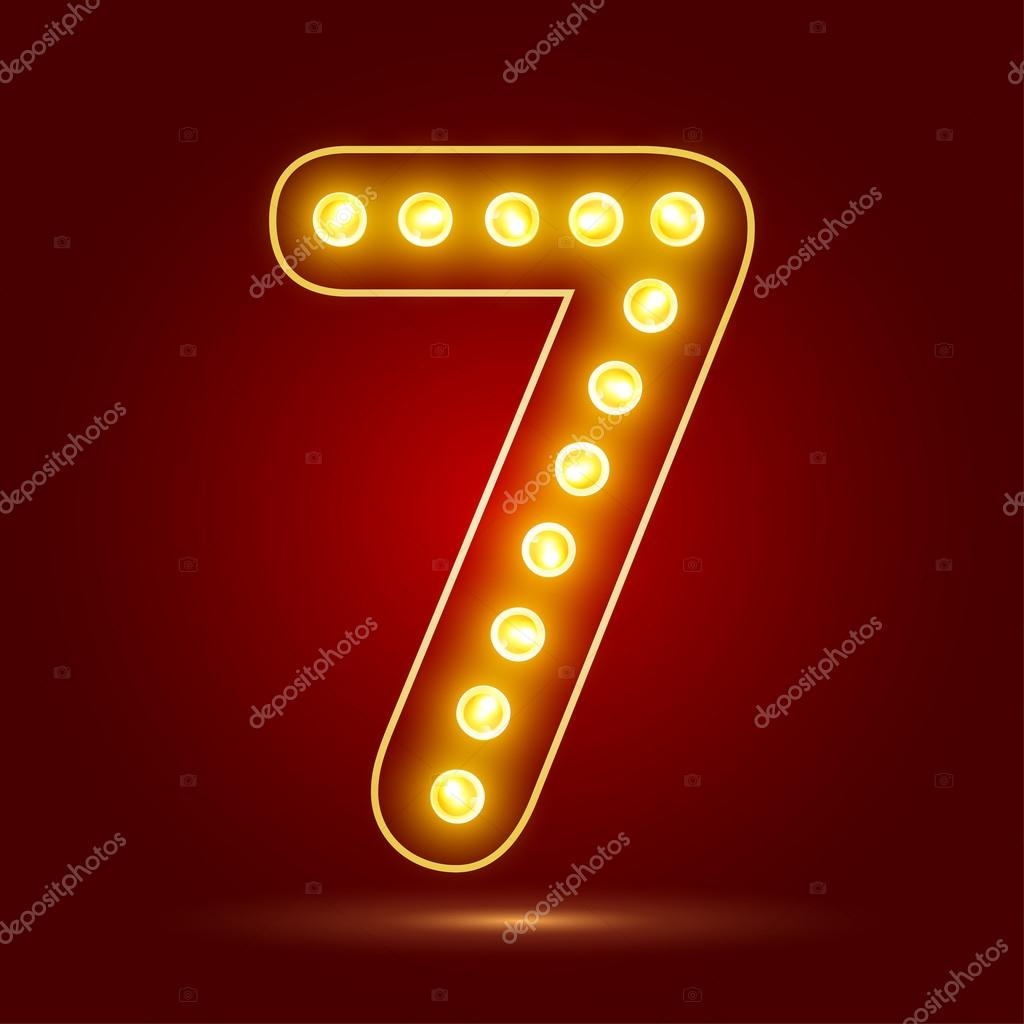 Number 7 with realistic lamp, vector illustration.