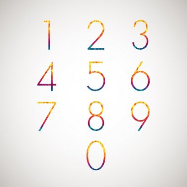 numbers set multicolor diamond