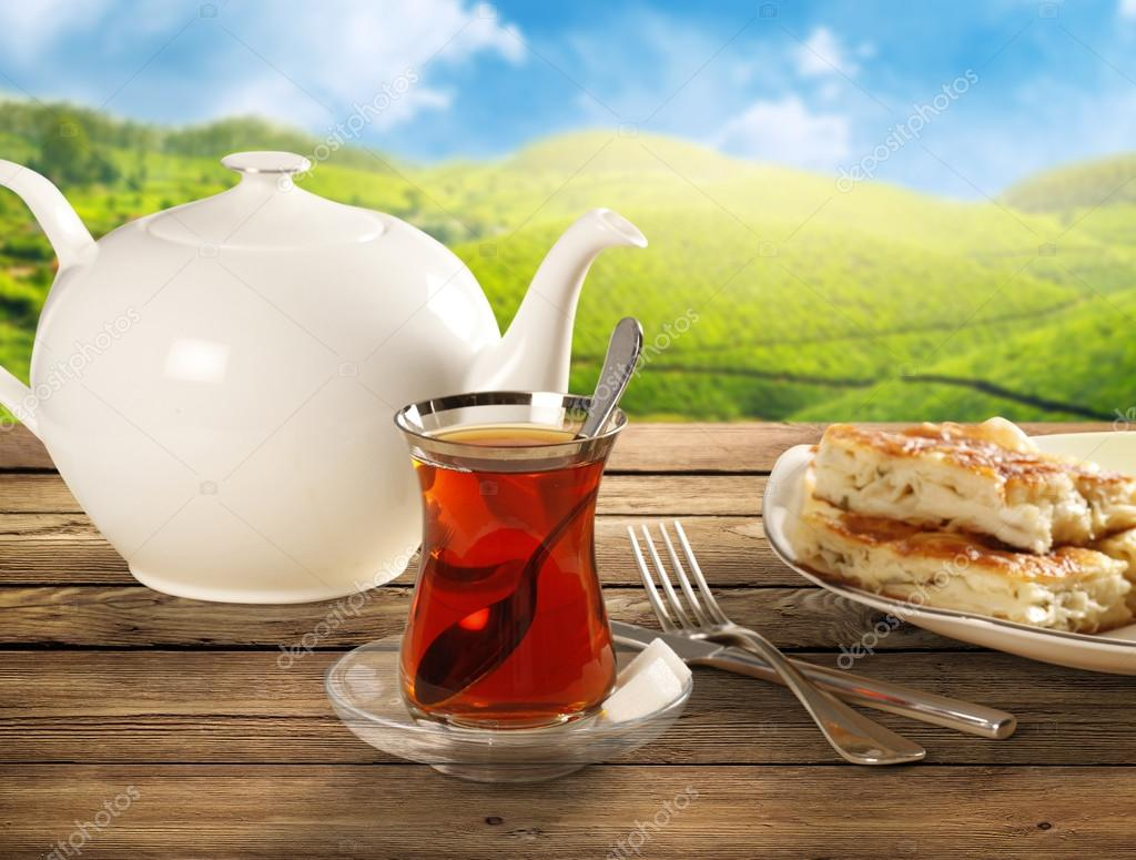 Glass of Turkish tea, natural background