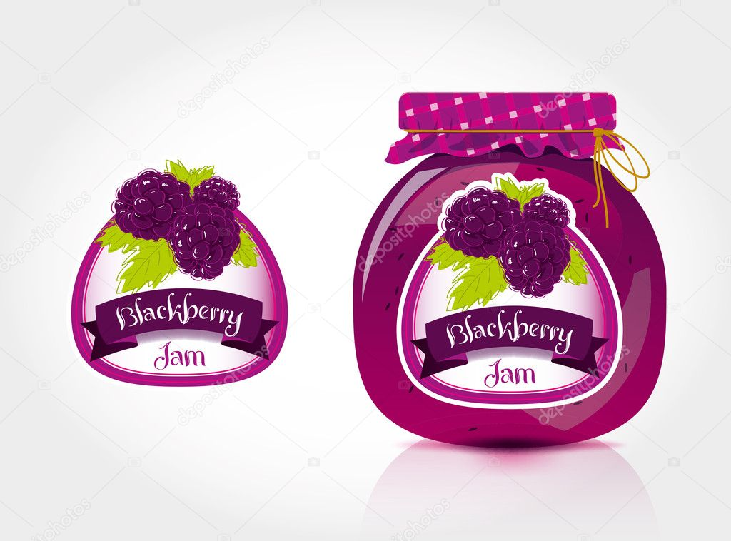 Blackberry jam label with jar