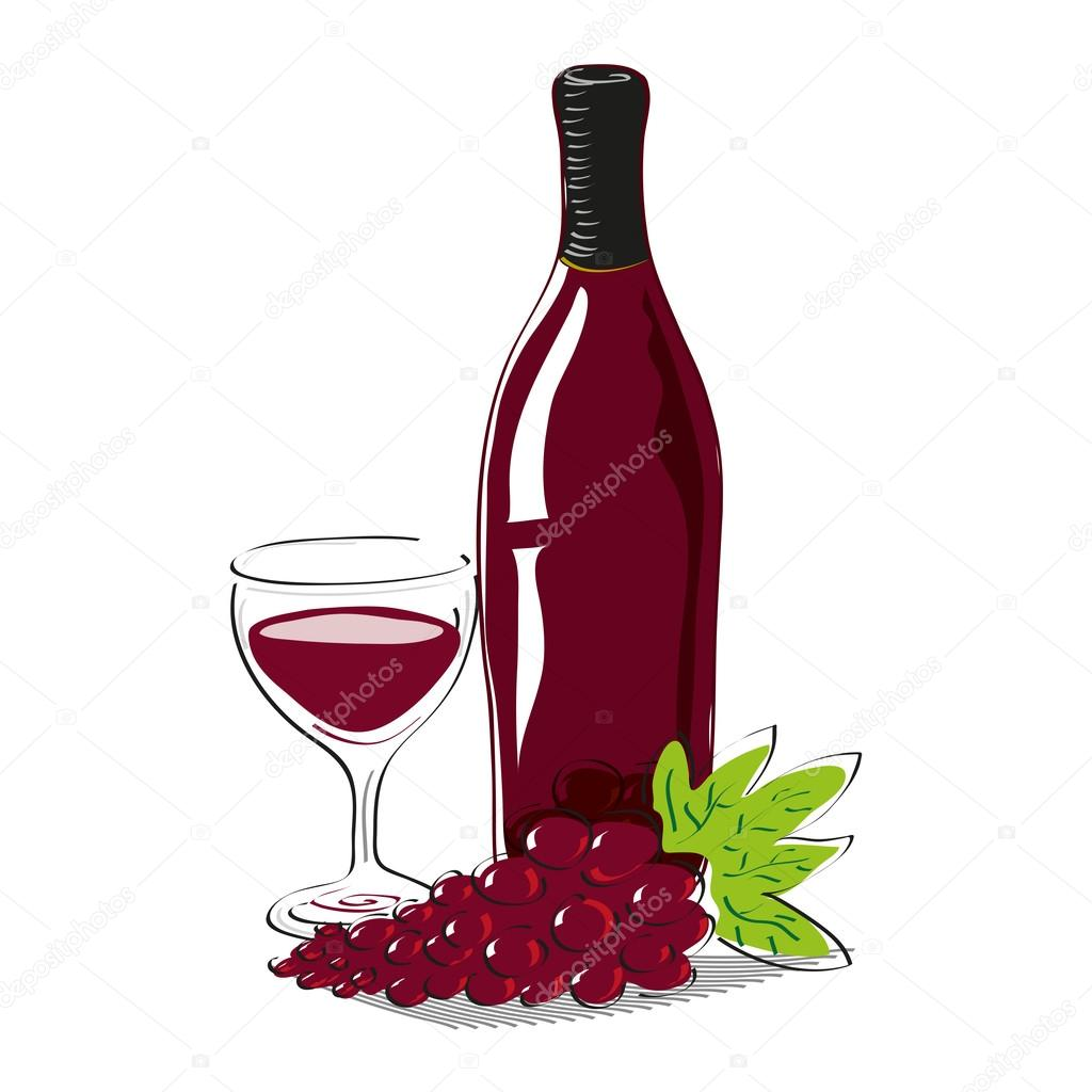 Red grape with bottle of red wine and glass full of wine with copy space