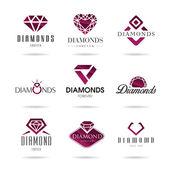 Diamond vektorové ikony nastavit