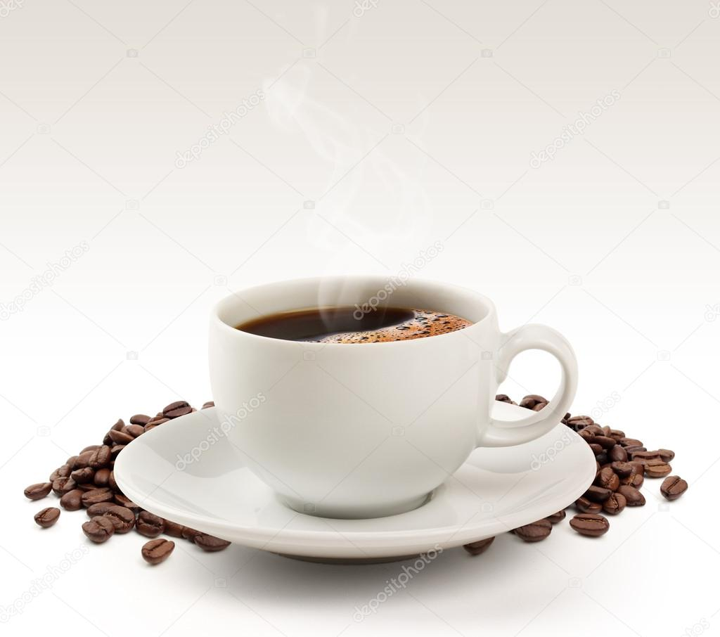 Coffee cup and beans on a white background (clipping path).