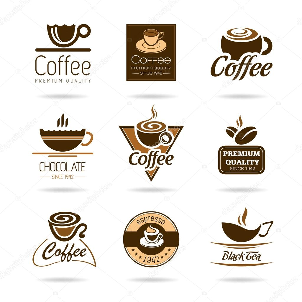 Coffee, espresso, hot chocolate and tea icon set.