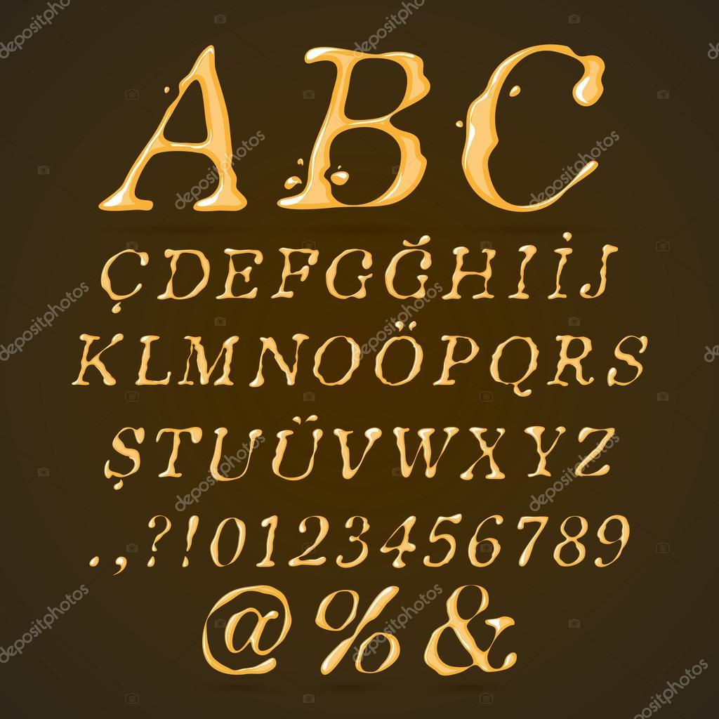 Beer, Honey and Caramel Alphabet Upper Case Italic