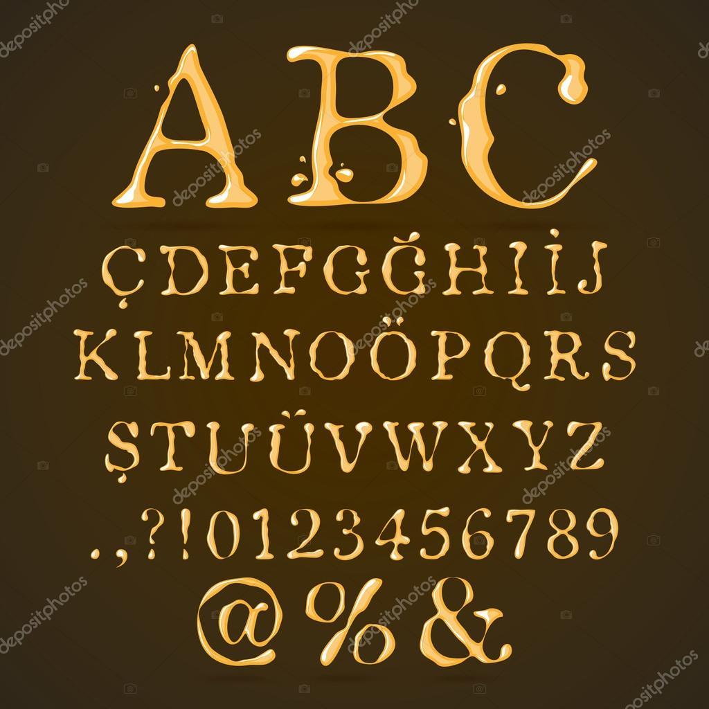 Beer, Honey and Caramel Alphabet Upper Case