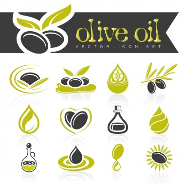 Olive oil icon set