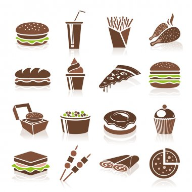 Lia fast food food icons can be used in relevant works. stock vector
