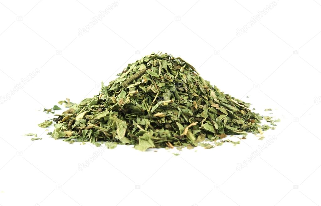 Dried peppermint pile isolated on white background