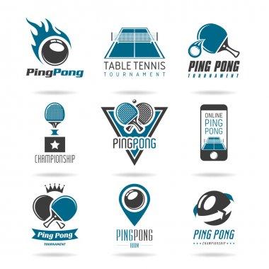 Ping pong icon set - 3