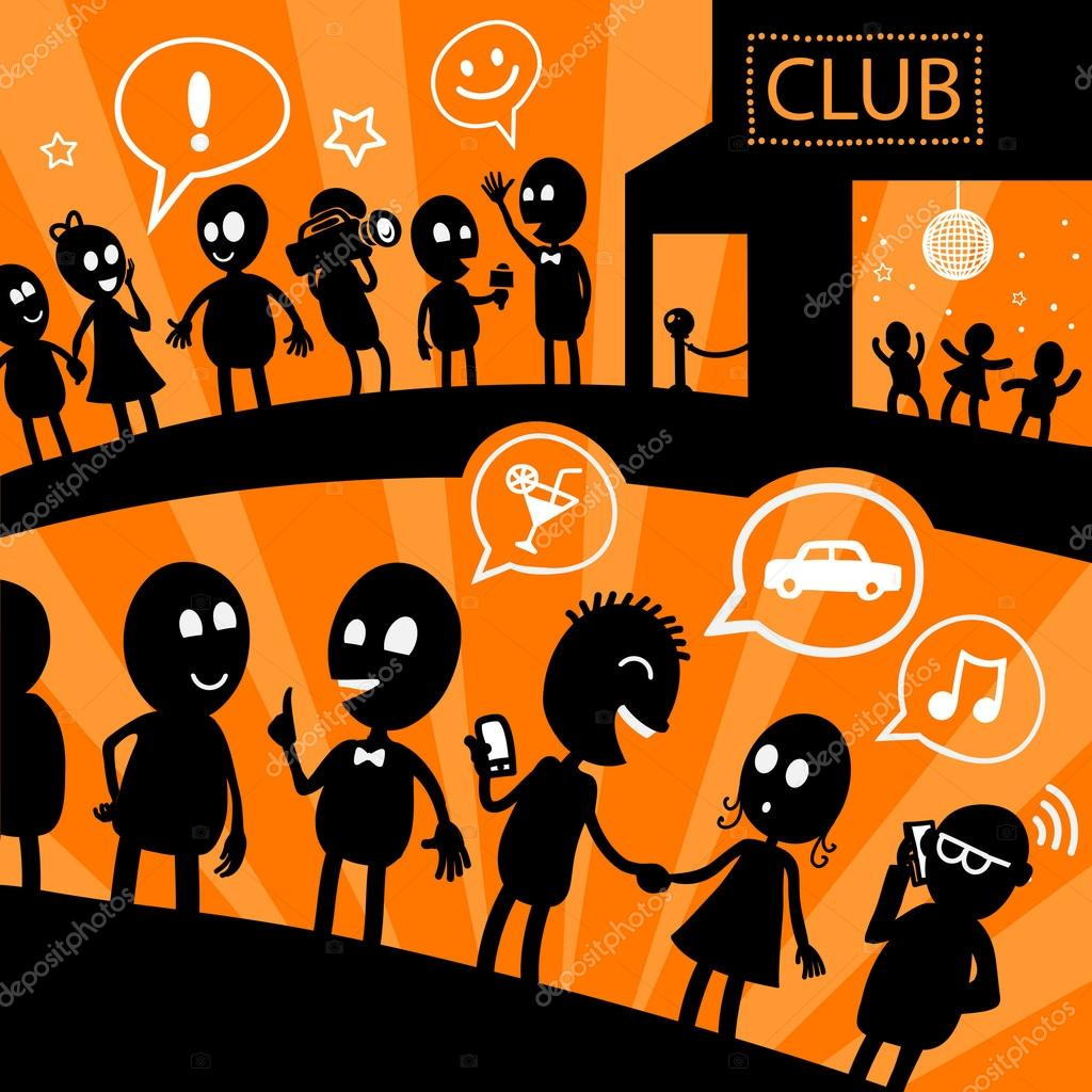 Illustration with black silhouettes of cartoon people standing in line at the nightclub