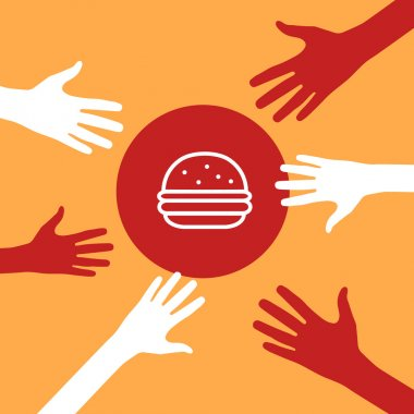 Hands reach for a burger.