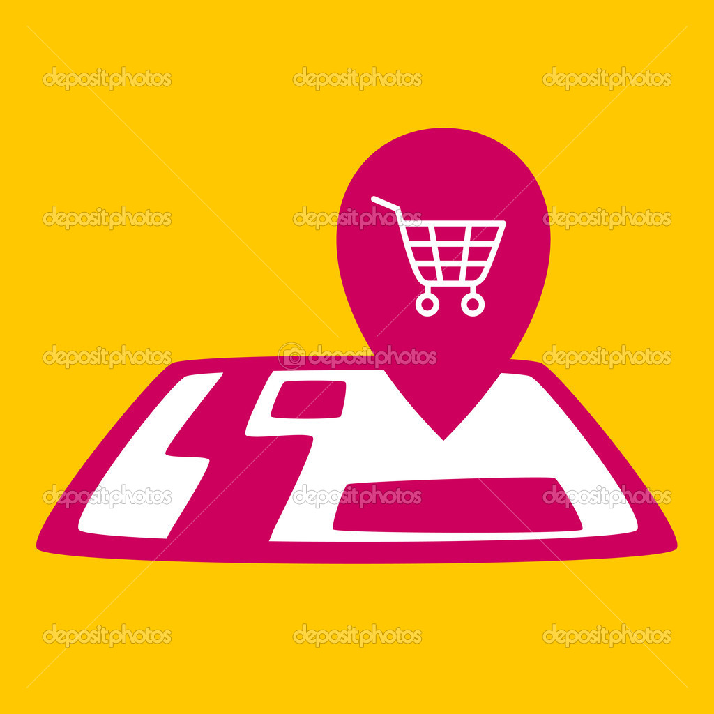 On map shopping cart. — Stock Vector © wowomnom #41816711 Map Cart on
