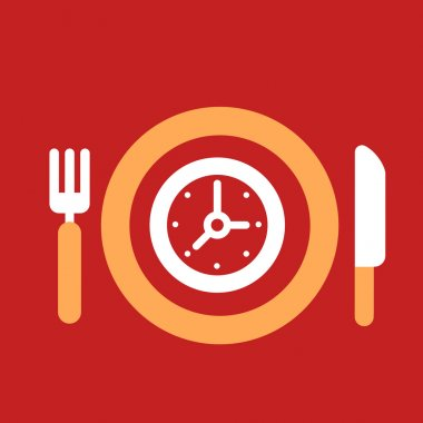 plate with knife and fork with an icon of  Clock