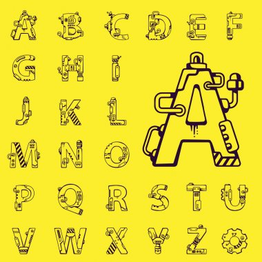 Black vector set of letters of the English alphabet mechanical r