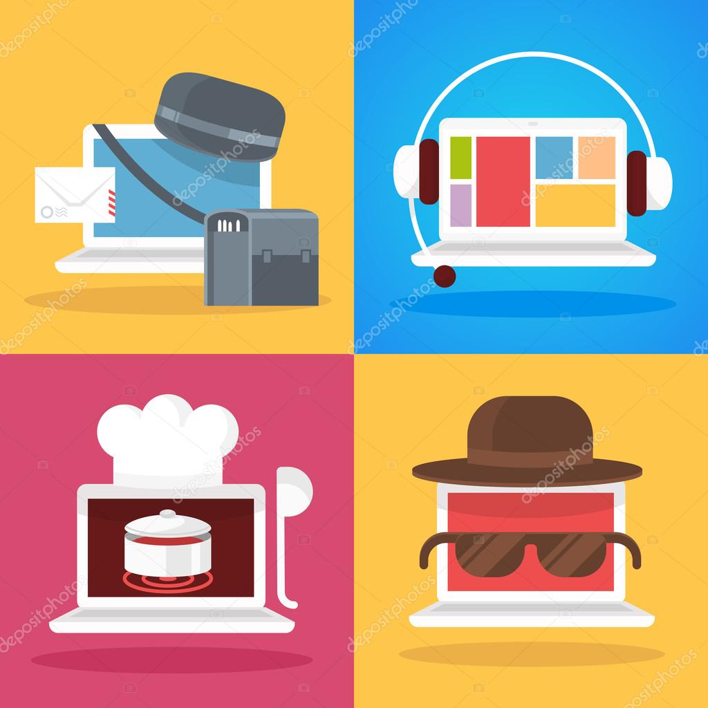 set of vector illustration white laptop profession