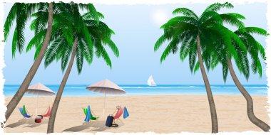 Summer beach by the sea, ocean