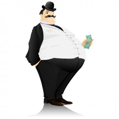 The banker, the rich man, with a roll of money