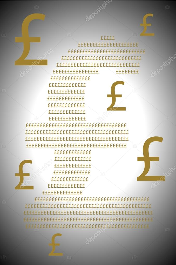Golden Pound Sterling Currency Symbols Stock Photo Thodonal