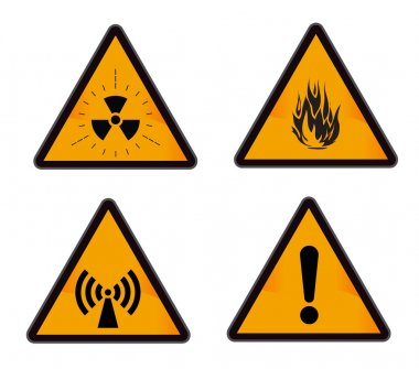 Rounded triangle shape hazard warning sign with question mark symbol. Vector illustration