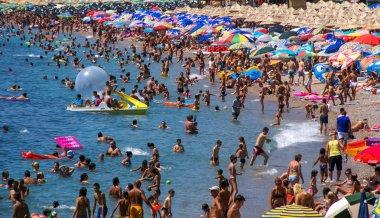 Crowded beach of Montenegro.