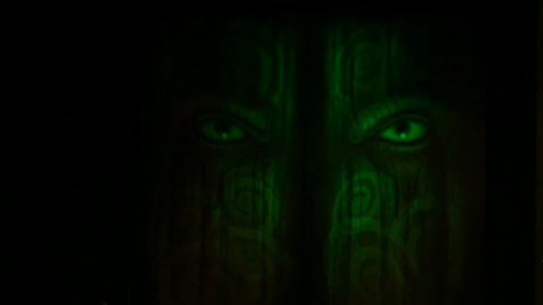 Multi Barva osvětlení na ďábel tvář dveře, full hd