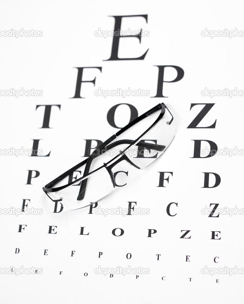 Reading Glasses With Eye Chart Stock Photo Ivanko1980 43910973