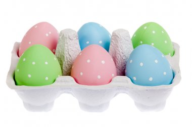 pastel colored easter eggs in cardboard, isolated