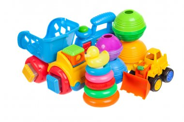 baby toys collection isolated on white