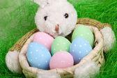 Osterkorb mit verzierten Eiern und dem Osterhasen