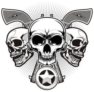 Skulls with guns